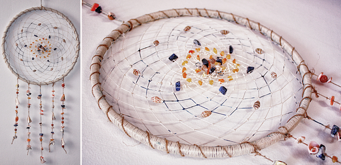 Ловец снов Pure ocean с янтарем, содалитом, ракушками