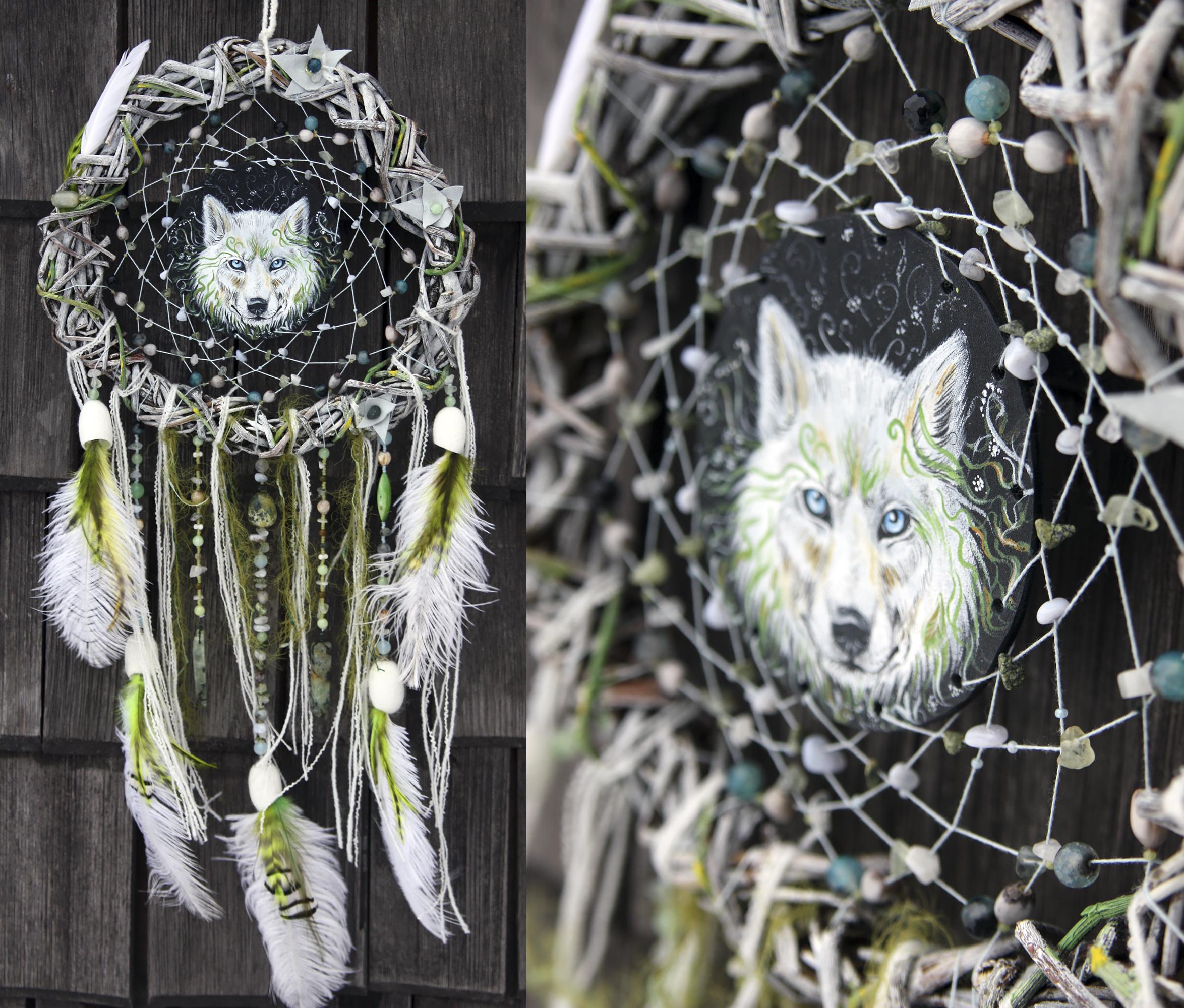 """Тотемный ловец снов """"White wolf calls spring"""""""