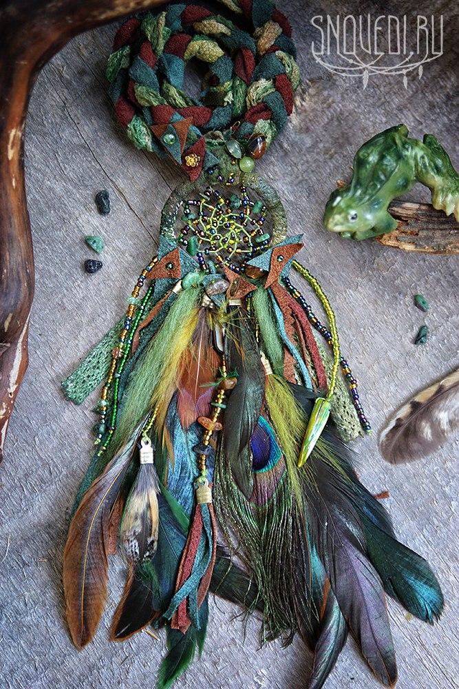 кулон ловец снов с натуральными камнями